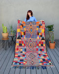 Vintage Plaid Moroccan Azilal Rug from Yuba Mercantile