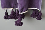 Plum Lightweight Cotton Moroccan Pom Pom Throw by Yuba Mercantile