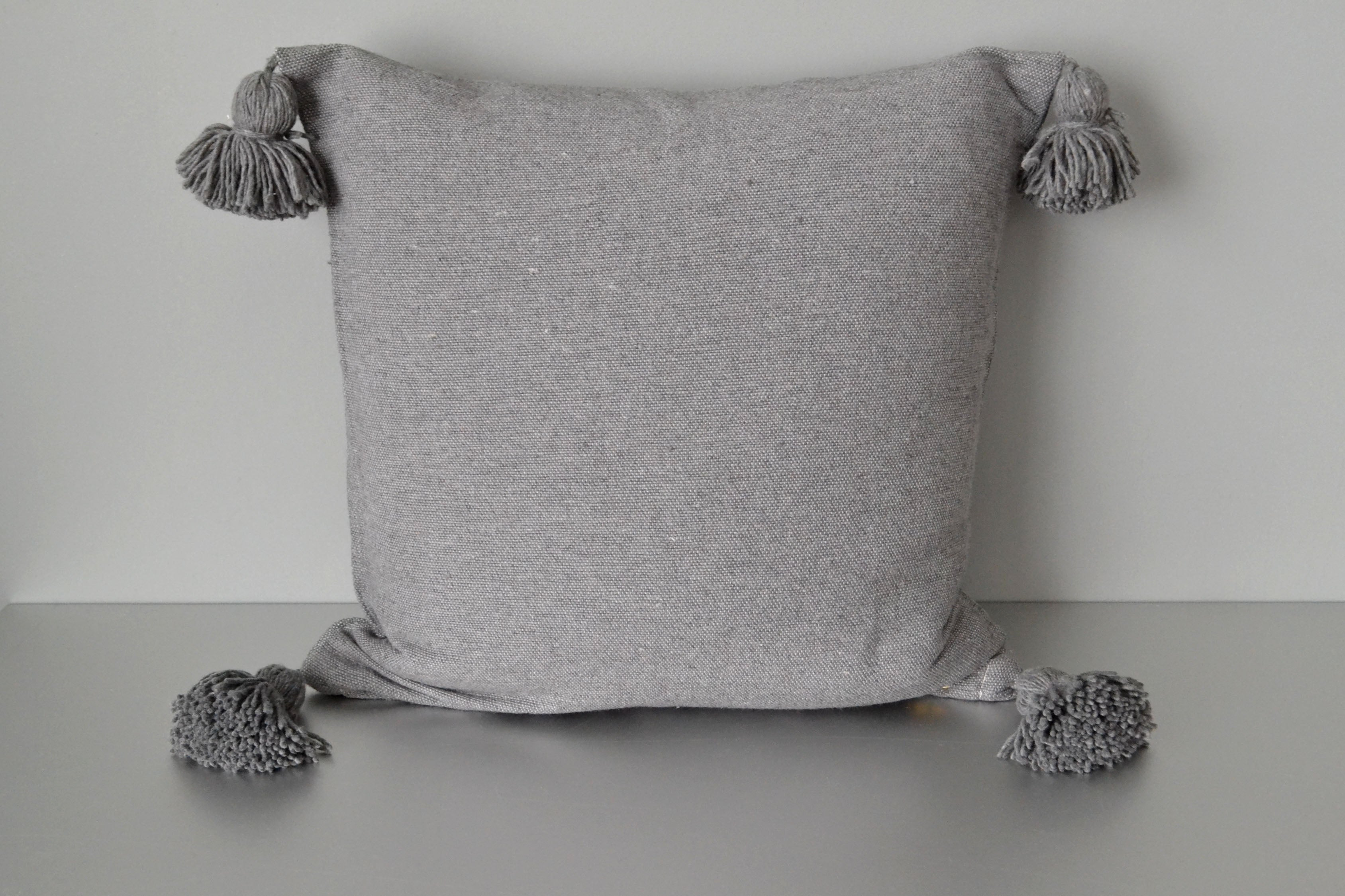 Steel Gray Cotton Pom Pom Throw Pillow by Yuba Mercantile