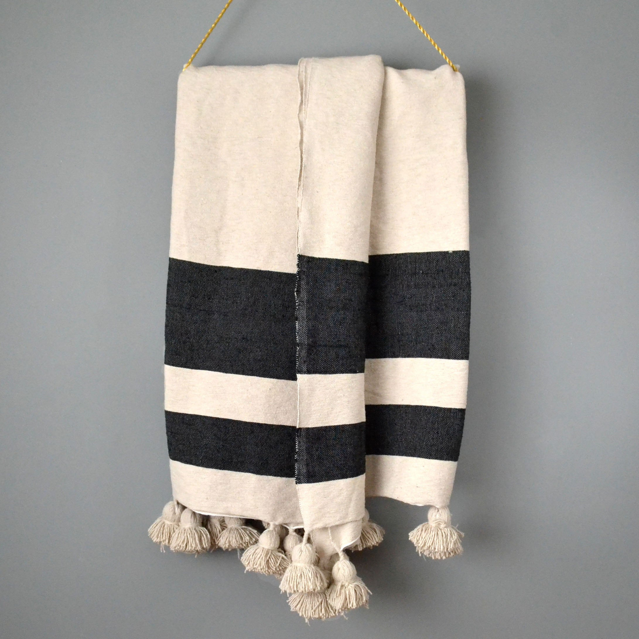 Striped Cotton Pom Pom Blanket by Yuba Mercantile