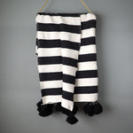 Striped Moroccan Pom Pom Blanket
