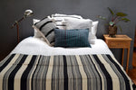 Black and Ivory Striped Cotton Bedspread by Yuba Mercantile