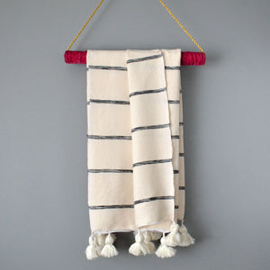 Striped Lightweight Cotton Moroccan Pom Pom Throw by Yuba Mercantile