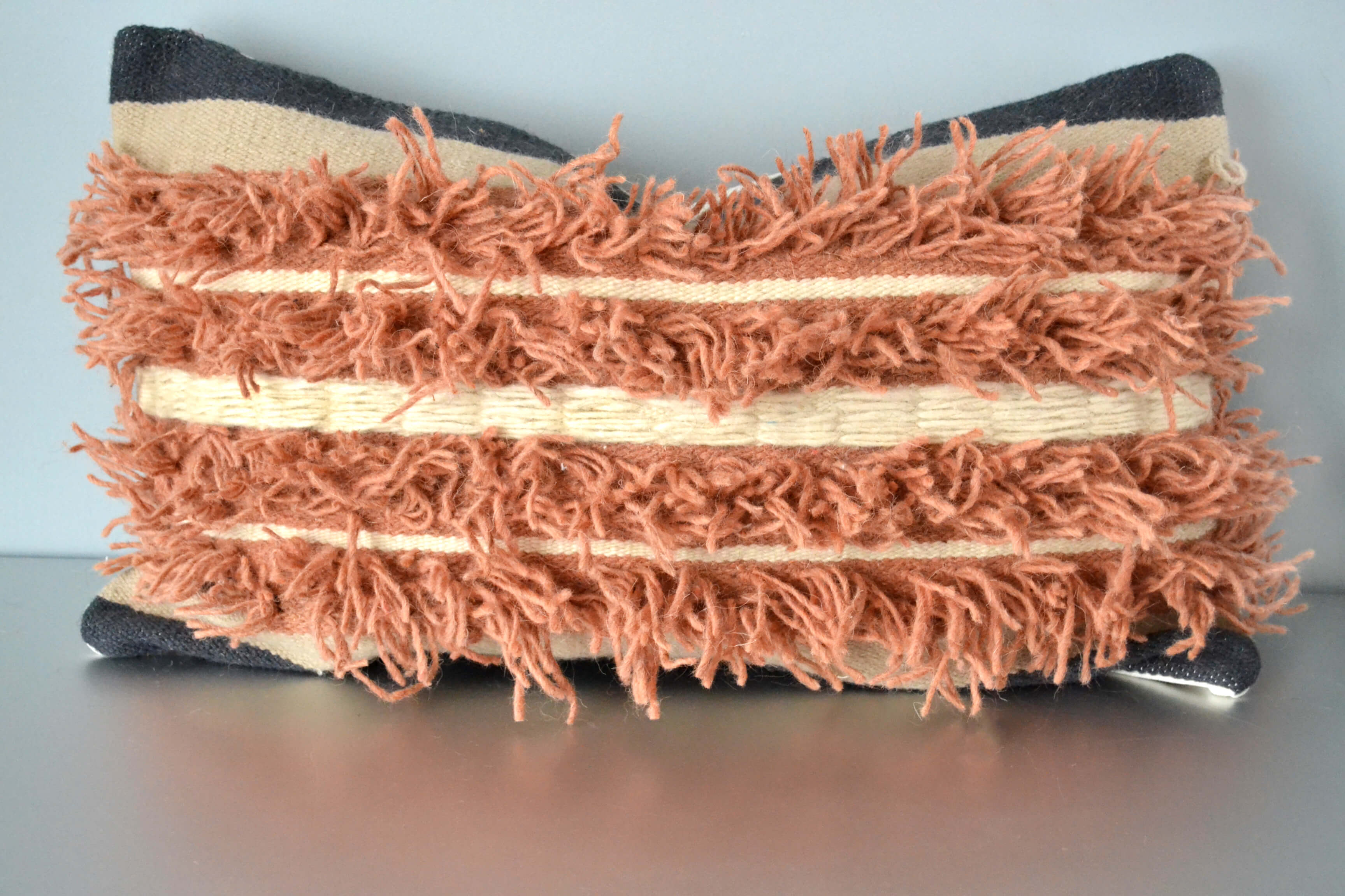 Tactile Mix Fringe Wool Lumbar Pillow by Yuba Mercantile