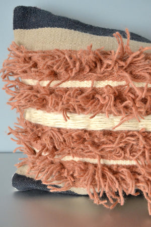 Tactile Mix Fringe Wool Lumbar Pillow Closeup by Yuba Mercantile