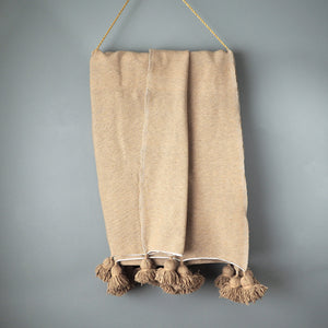 Tan Cotton Moroccan Pom Pom Blanket by Yuba Mercantile