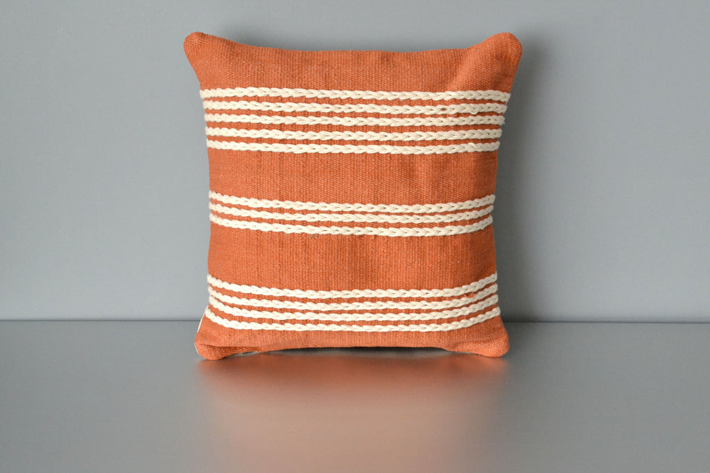 Terracotta Orange Meadow Cotton Pillow by Yuba Mercantile