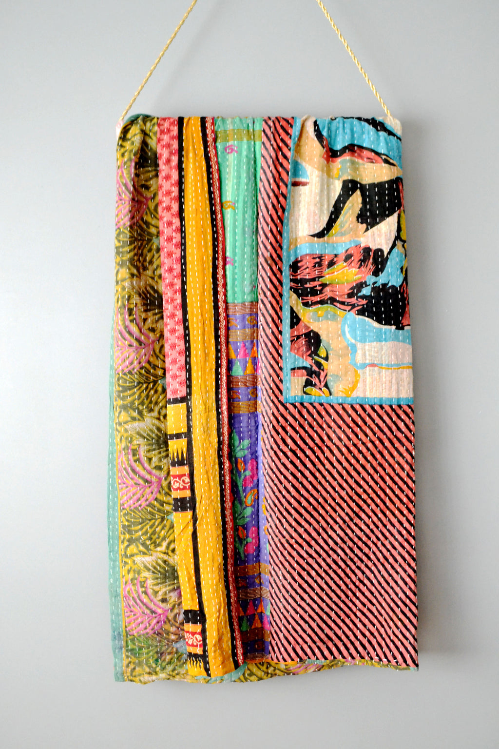 Vintage Indian Colorful Kantha Quilt by Yuba Mercantile