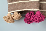 Vintage Brown Wool Pom Pom Throw by Yuba Mercantile