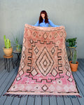 Vintage Pink and Peach Zayane Moroccan Rug by Yuba Mercantile