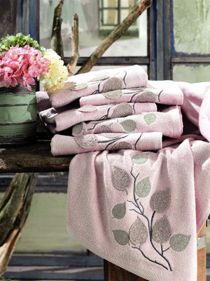 3D LEAVES EMBROIDERY TURKISH BAMBOO PREMIUM TOWEL - COTTONISH