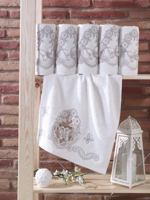 3D EMBROIDERY TURKISH BAMBOO ELEGANT TOWEL DECORATED WITH FRENCH GUIPURE - COTTONISH
