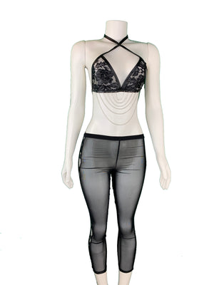 Women's See-Through Lace Design Bra and Leggings Lingerie Set