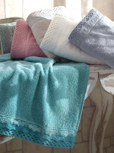 TURKISH BEST QUALITY COTTON TOWEL WITH LACE IN 6 COLOR - COTTONISH