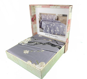 Floral Duvet Cover Set - Grey with White Flowers