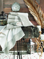 LINEN BORDER TURKISH BAMBOO TOWEL WITH EMBOIDERY - COTTONISH