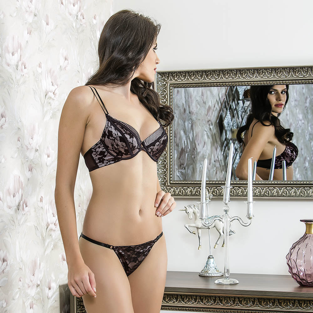 LACE BRA AND PANTIES SUIT - COTTONISH
