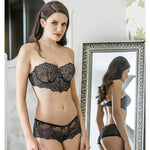 EMBROIDERY STRAPLESS BRA AND SHORT SET - COTTONISH