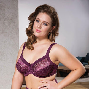 COMFORTABLE LACE UP MINIMIZER BRA - COTTONISH