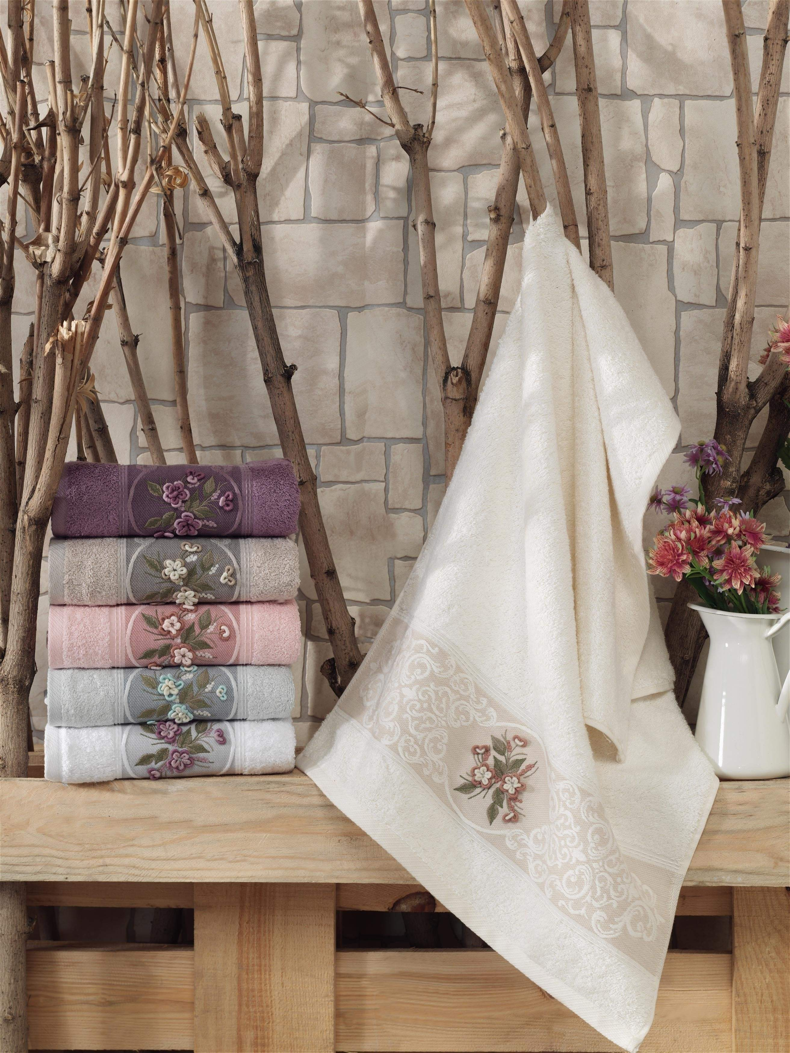 6 COLORS JACQUARD BAMBOO TOWEL WITH HAND MADE FLOWERS TURKISH MADE - COTTONISH