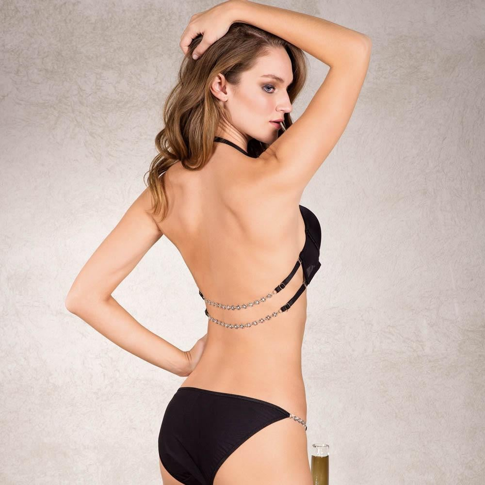 PUSH UP BRA AND PANTIES SET WITH REMOVABLE BACK STRAPS - COTTONISH