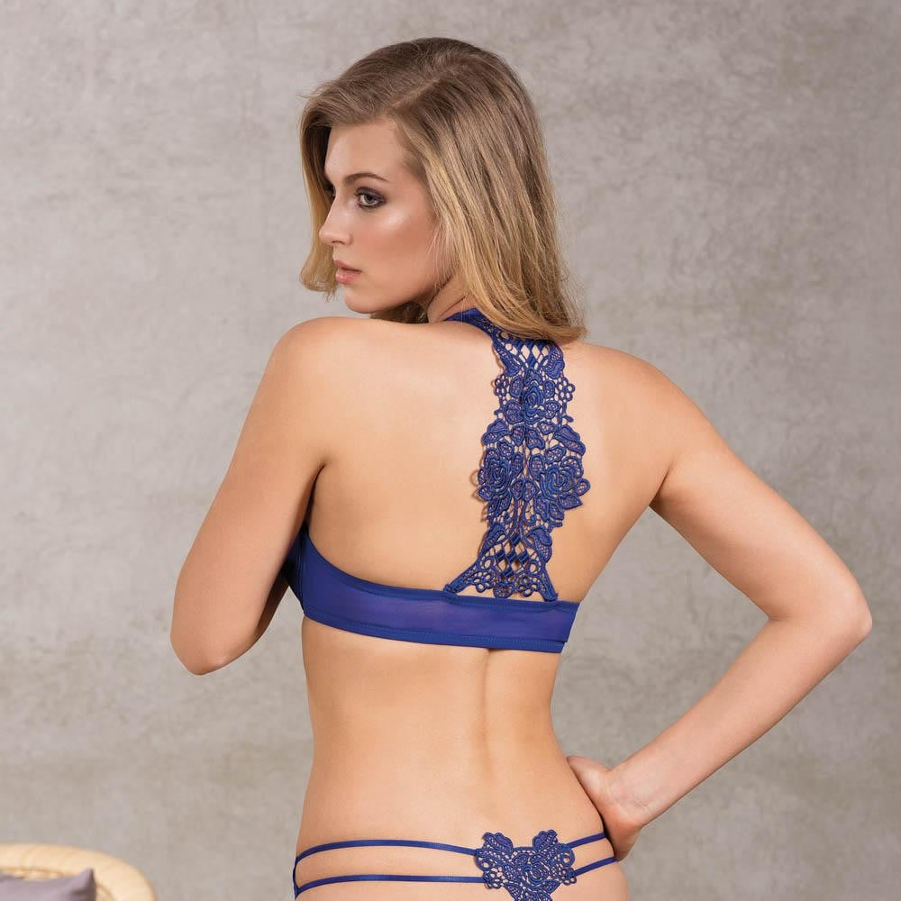 PUSH UP BRA AND THONG SET WITH EMBROIDERY BACK - COTTONISH