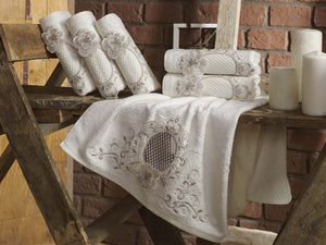 BAMBOO TOWEL WITH FRENCH GUIPURE & EMBROIDERY - COTTONISH