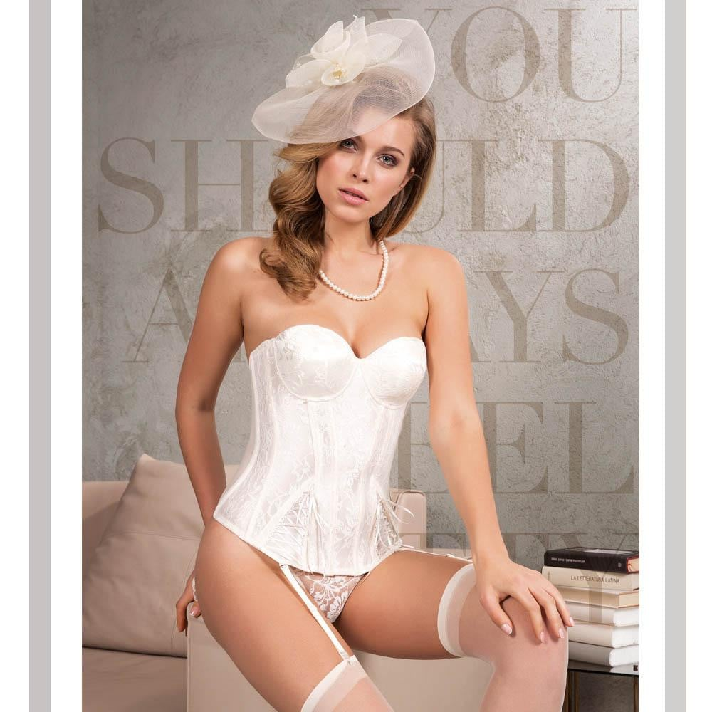 PUSH UP BUSTIER , THONG AND STOCKING 3 PCS SET WITH LACE - COTTONISH