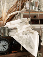 TURKISH BAMBOO DESIGNED TOWEL WITH TASSEL & EMBROIDERY - COTTONISH