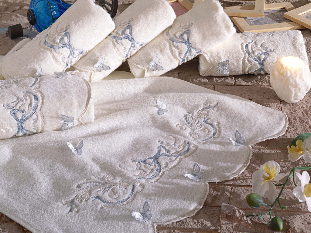 3D BUTTERFLY EMBROIDERY TURKISH BAMBOO ELEGANT TOWEL - COTTONISH