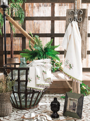 TURKISH BAMBOO DESIGNED TOWEL WITH EMBROIDERY & HAND MADE TASSEL - COTTONISH