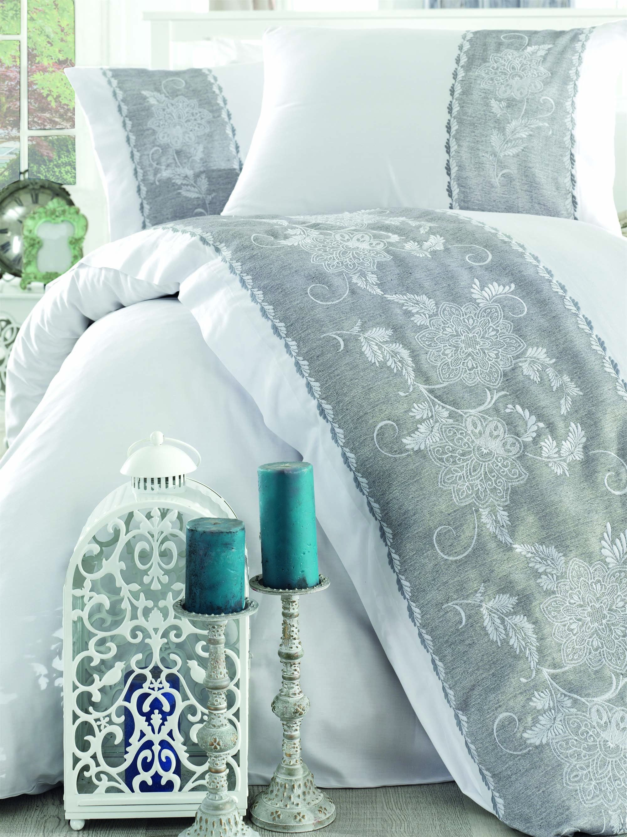 ELEGANT EMBROIDERY DECORATED COTTON SATIN DUVET COVER SET - COTTONISH