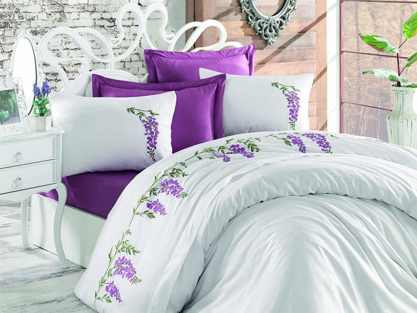 ELEGANT SATIN COTTON BEDDING SET WITH LARGE FLOWER EMBROIDERY - COTTONISH