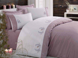 ELEGANT SATIN COTTON DUVET COVER SET WITH BIRD & FLOWER EMBROIDERY - COTTONISH