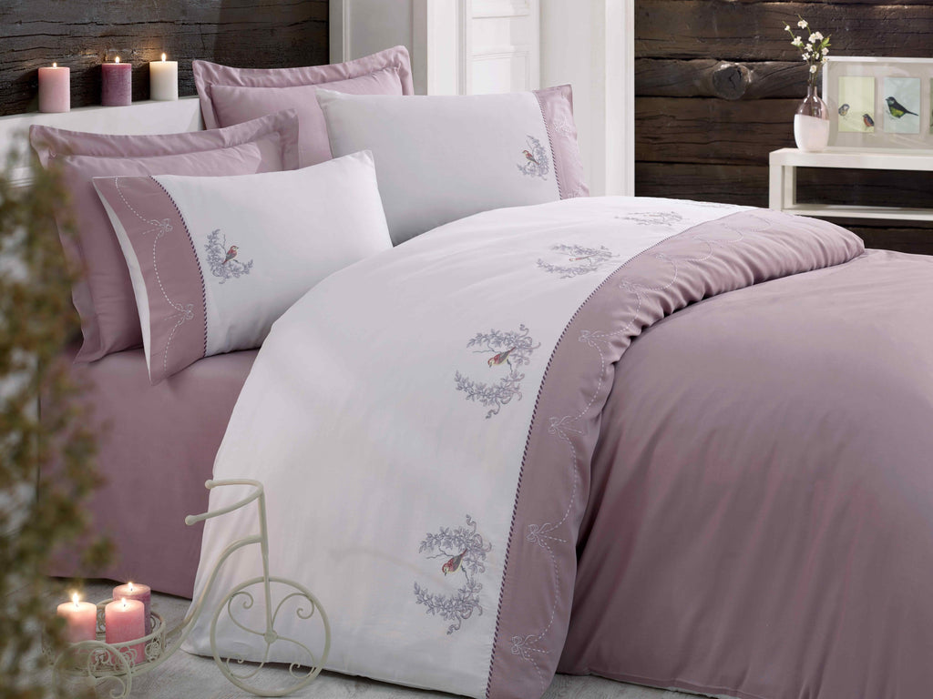 ELEGANT SATIN COTTON BEDDING SET WITH BIRD & FLOWER EMBROIDERY - COTTONISH