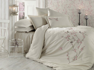 STUNNING SATIN COTTON BEDDING SET WITH 3D BUTTERFLY EMBROIDERY - COTTONISH