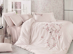 STUNNING SATIN COTTON DUVET COVER SET WITH 3D BUTTERFLY EMBROIDERY - COTTONISH