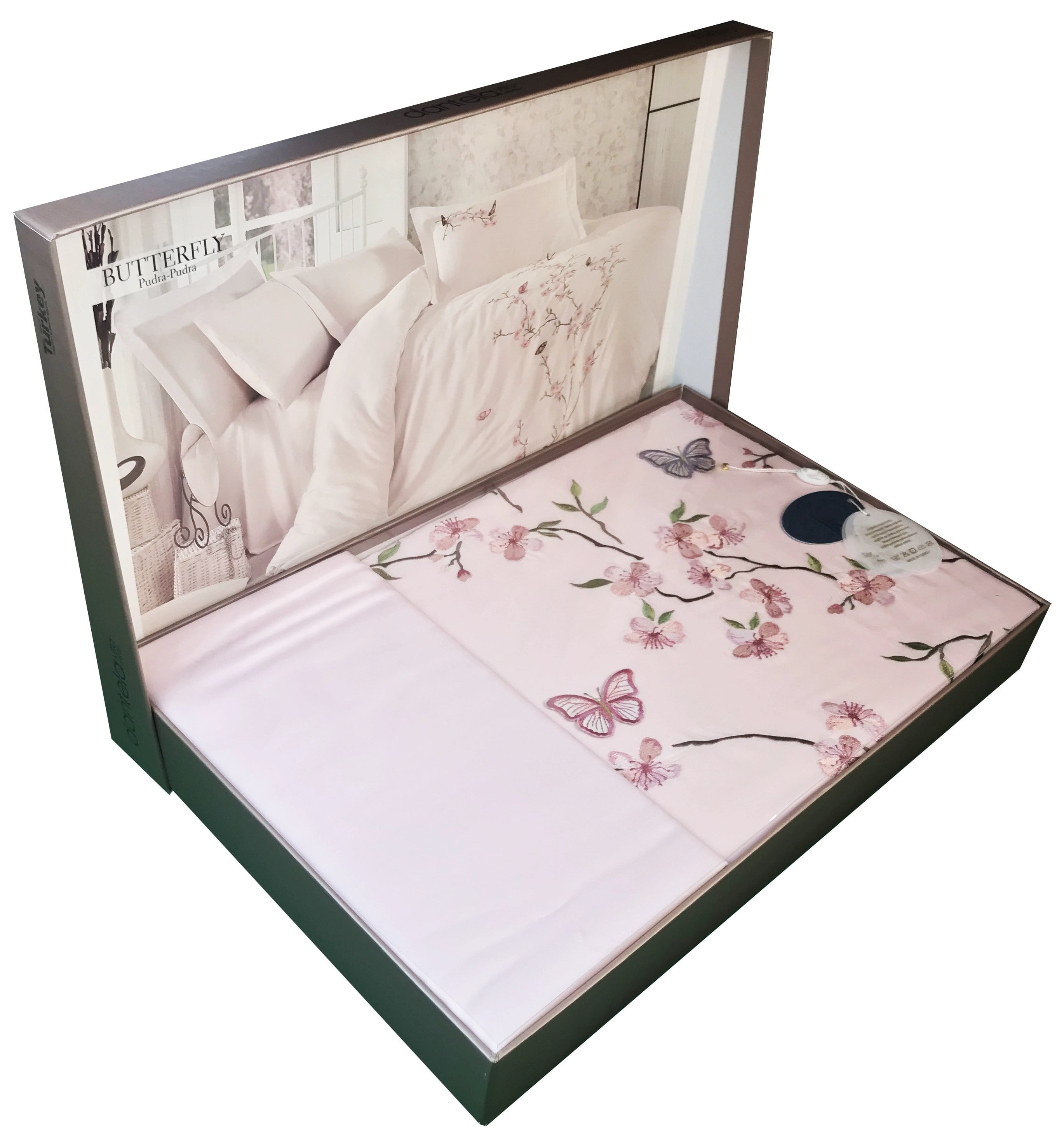 Embroidery Butterfly Bedding Set; 6 pieces