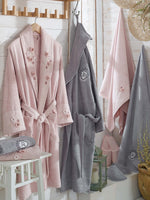 8PCS 3D FLOWER EMBROIDERIED BAMBOO BATHROBE FAMILY SET - COTTONISH