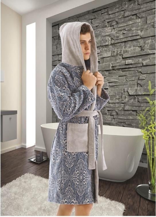 PRINTED YARN & JACQUARD HOODED  COTTON ABSORBENT BATHROBE - COTTONISH