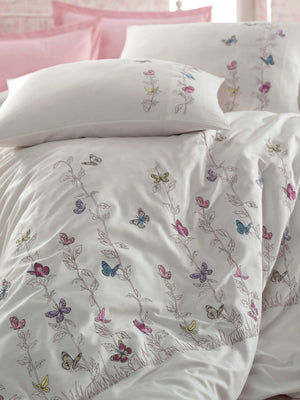 BEST QUALITY SATIN COTTON FABRICS EMBROIDERY DESIGNED DUVET COVER SET - COTTONISH