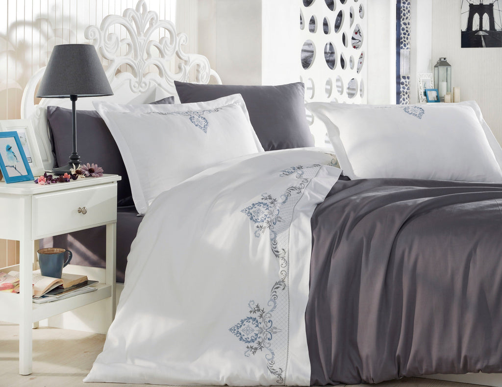 EMBROIDERED DECORATED PREMIUM COTTON SATIN BEDDING SET - COTTONISH