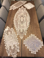 GUIPURE LACE TABLE RUNNER/TOPPER MERCURY - COTTONISH
