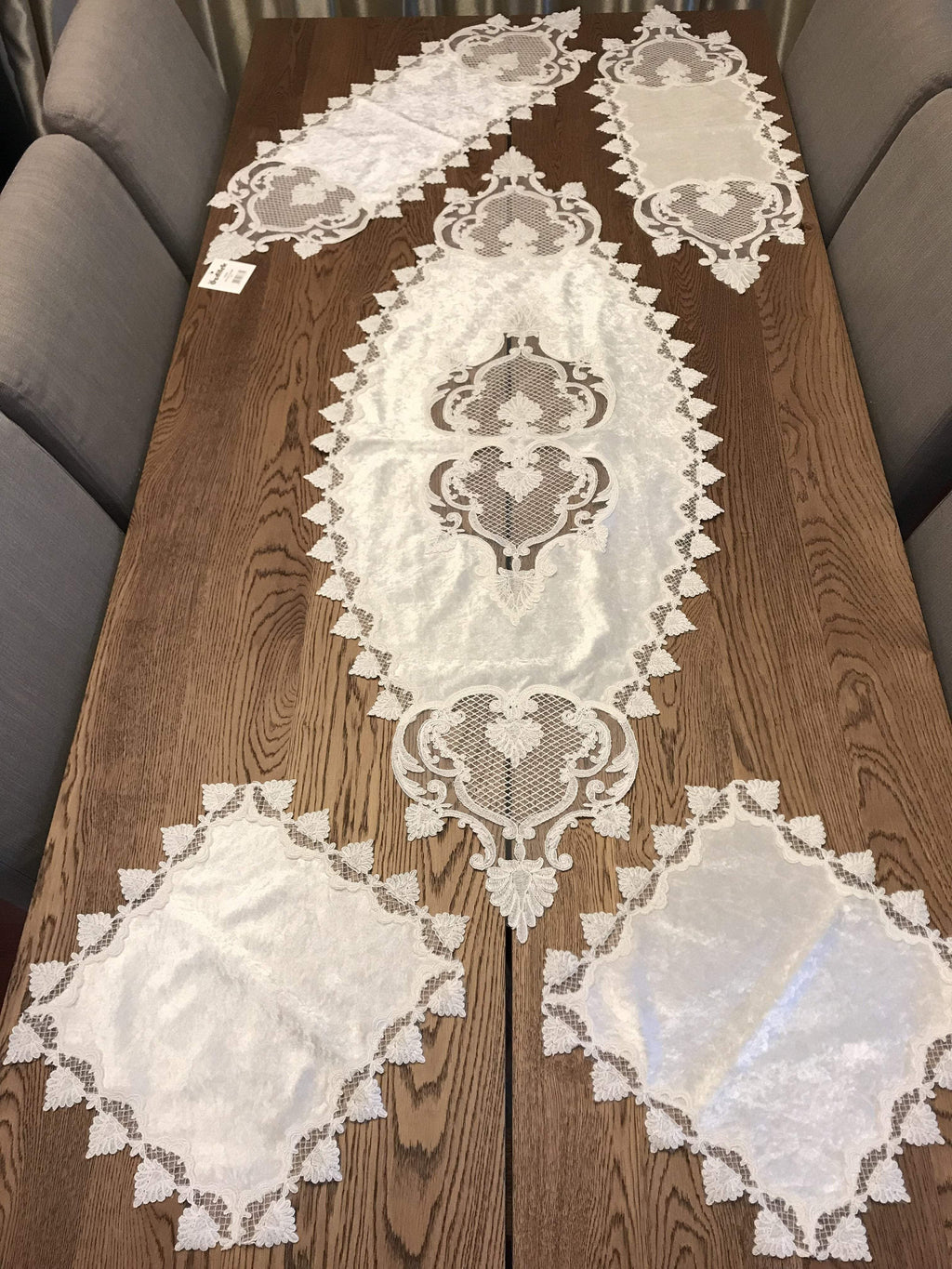 GUIPURE LACE TABLE RUNNER/TOPPER SATURN - COTTONISH