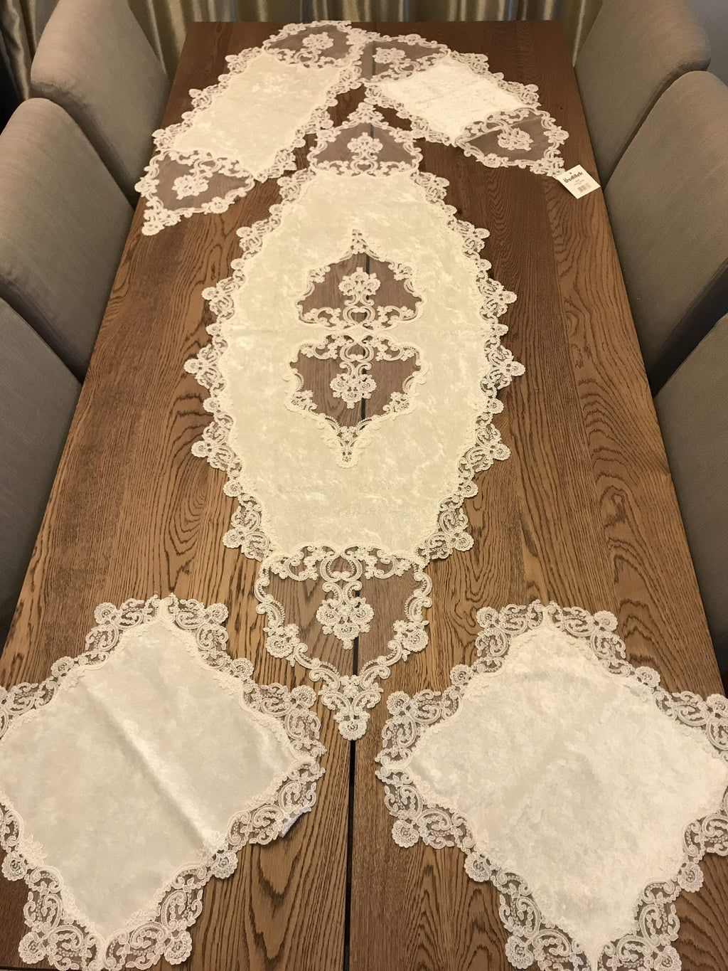 GUIPURE LACE TABLE RUNNER/TOPPER NEPTUNE - COTTONISH