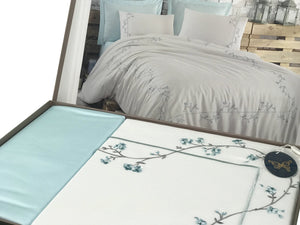 6 Pieces Embroidery Bedding Set with Floral Design