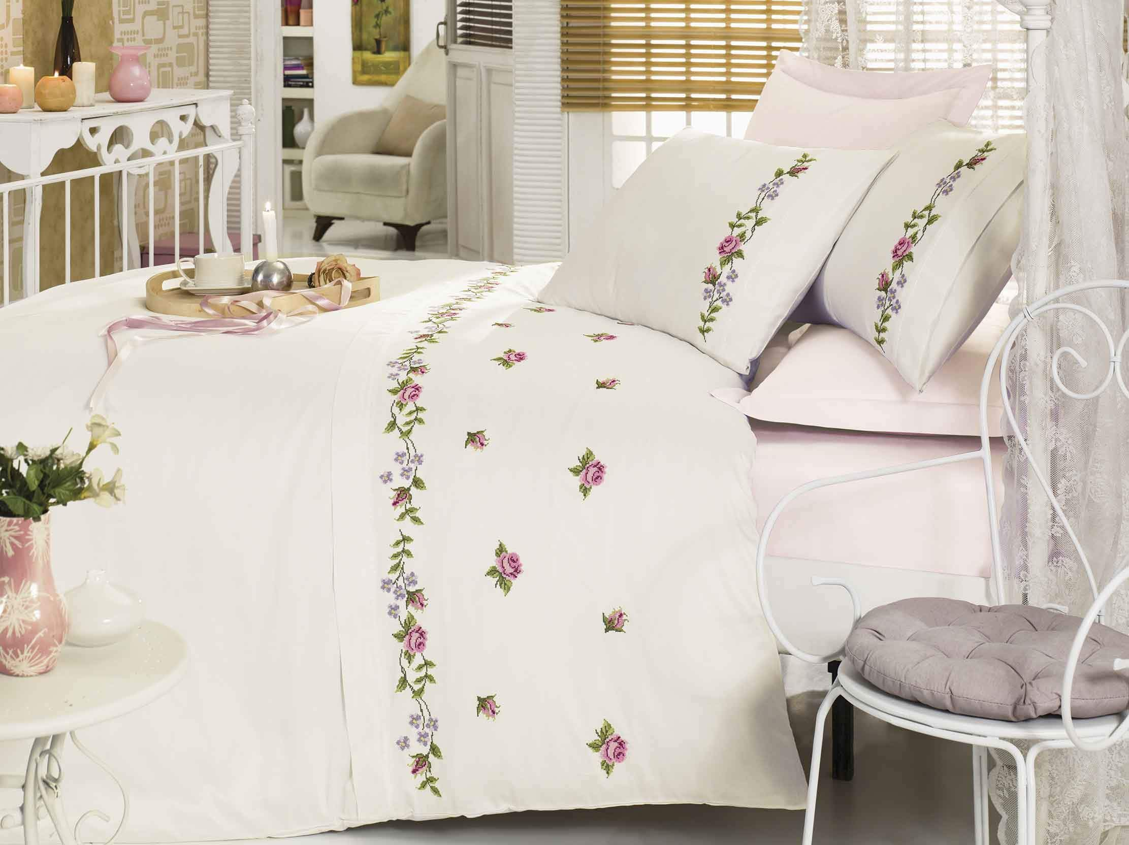 EMBROIDERY DESIGNED GORGEOUS COTTON SATIN BEDDING SET - COTTONISH