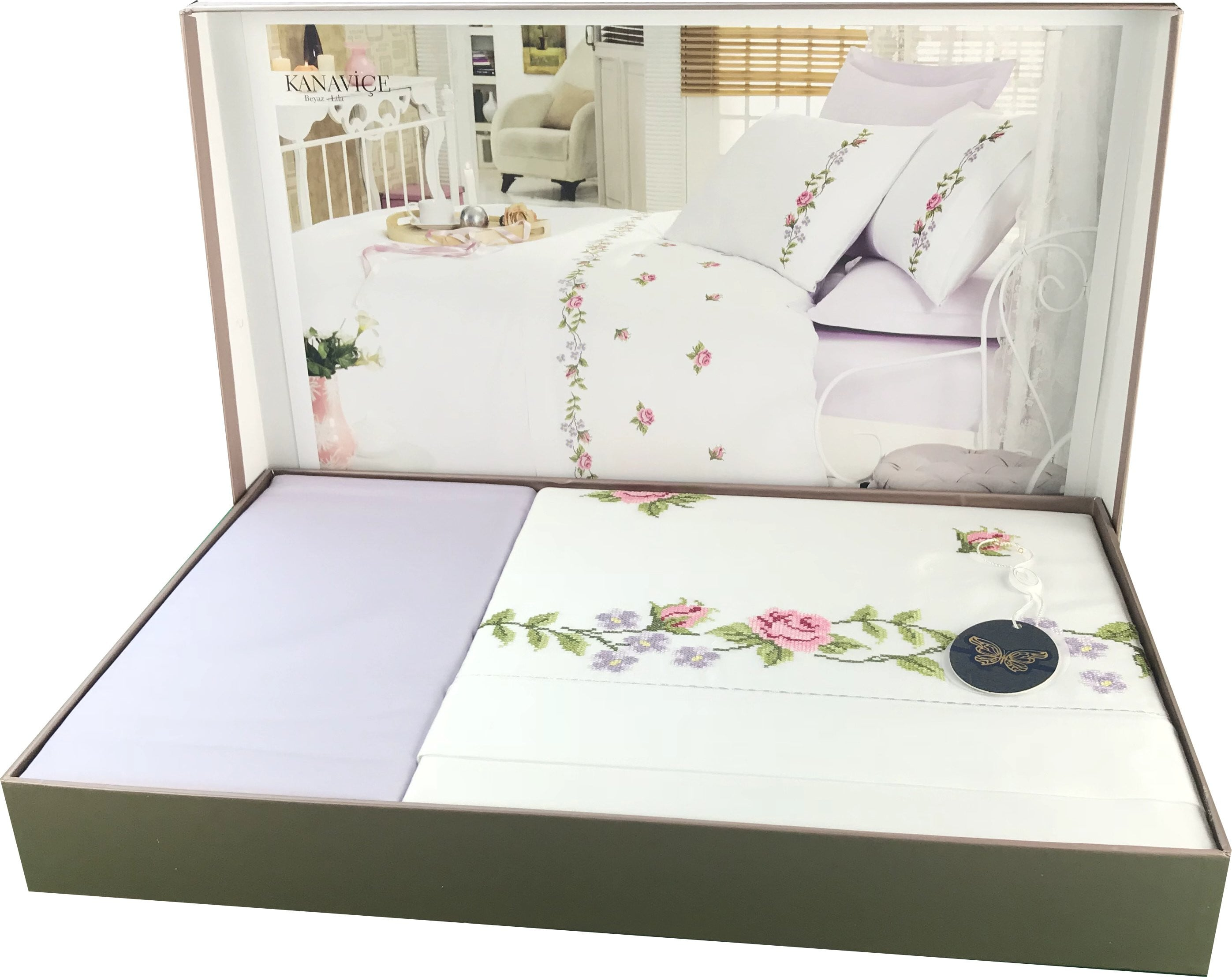 Rose Embroidery 6 Pieces Bed Set