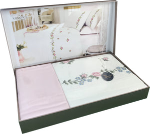 Luxury Duvet Cover + Flat Bed Sheet + 4 Pillow Cases