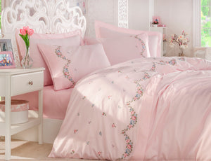 FINE SATIN COTTON DUVET COVER SET WITH EMBROIDERY - COTTONISH